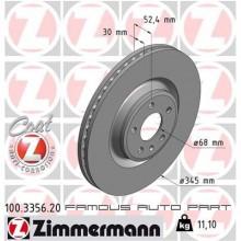 ZIMMERMANN FRONT DISC ROTOR (X2) FOR AUDI A4 A5 A6 A7 Q5 PORSCHE MACAN R4 (4G0615301AF)