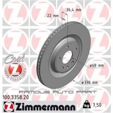 ZIMMERMANN REAR DISC ROTOR (X2) FOR AUDI A4 A5 A6 A7 Q5 Q7 PORSCHE MACAN R4 VOLKSWAGEN TOUAREG (2018) (8W0615601K)