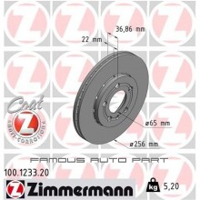 ZIMMERMANN FRONT DISC ROTOR (X2) FOR VOLKSWAGEN POLO SEDAN 1.6 1.2 (6RF615301C)