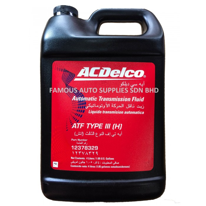 AC DELCO ATF TYPE III-H Auto Transmission Fluid 4L